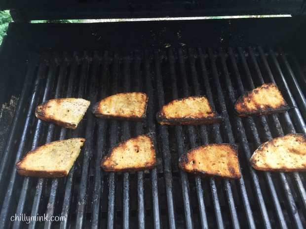 CM bread on grill